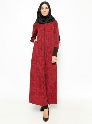 Patterned Abaya - Black - ModaNaz 230308