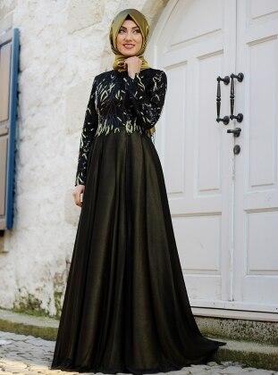 Elmas Abiye Elbise - Siyah