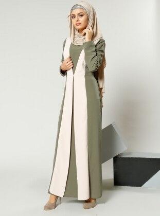 Garnili Elbise - Haki