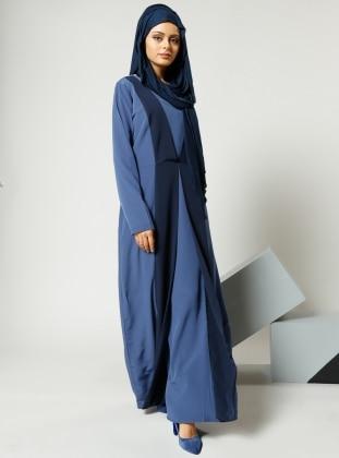 Refka Garnili Elbise - İndigo