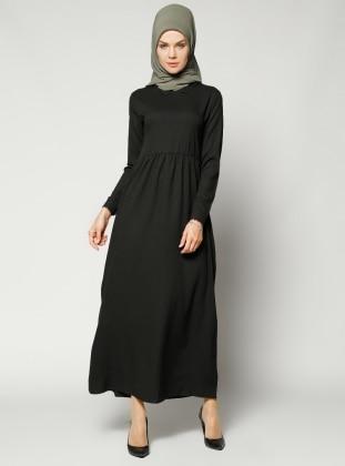 Güpür Detaylı Elbise - Siyah - Refka Women