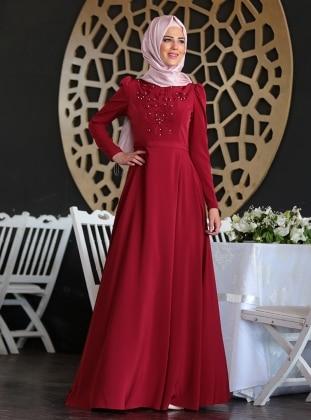 Mahperi İncili Elbise - Bordo Nurkombin