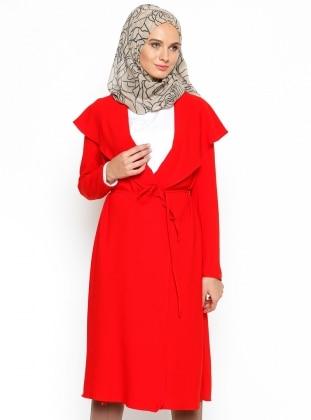ModaNaz Şal Yaka Kap - Kırmızı