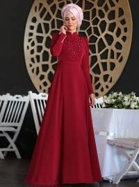 Mahperi Bead Detailed Dress - Maroon