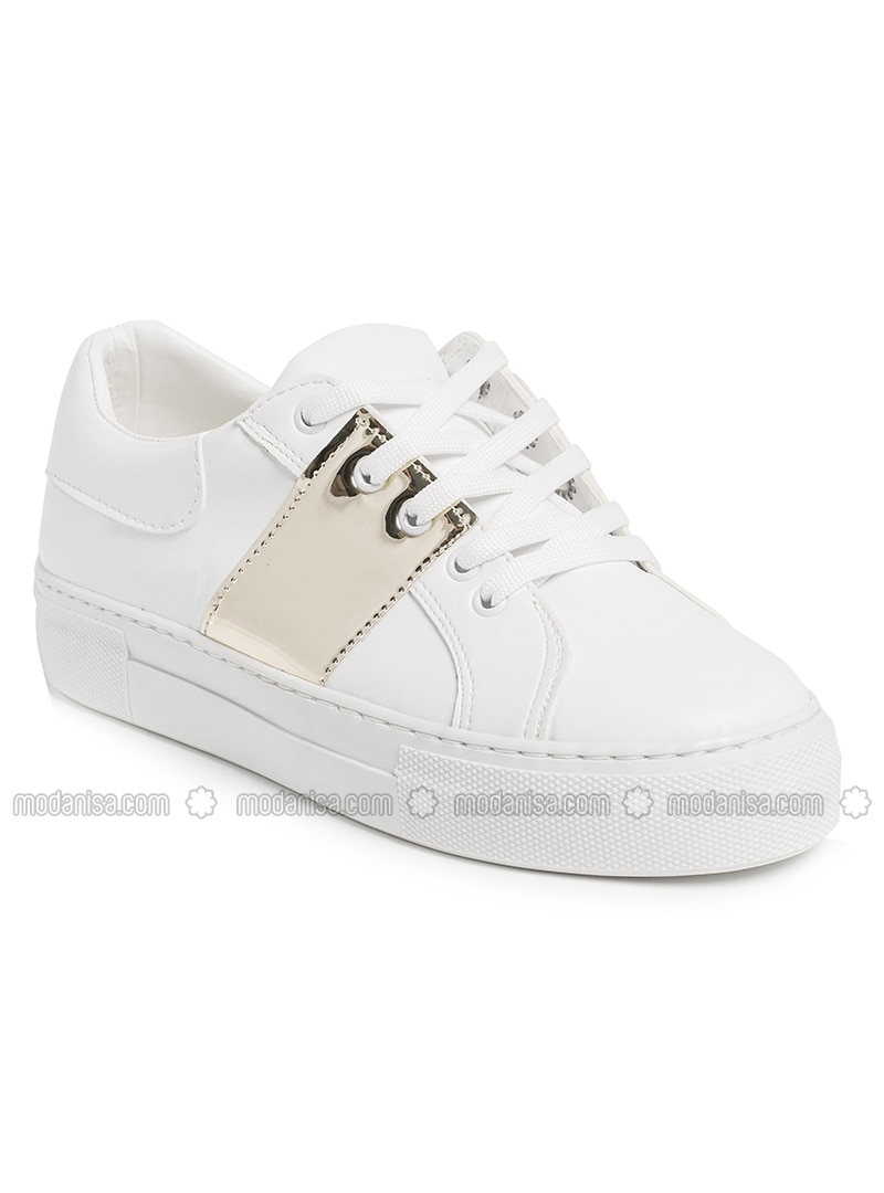 Shoes - Gold - White