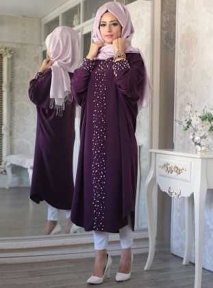 Elisa Bead Detailed Abaya Tunic - Purple