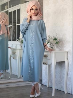 Elisa Bead Detailed Abaya Tunic - Water Green