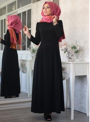 Lef`zen Hale Elbise - Siyah