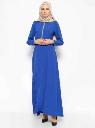 New Kenza Taş Detaylı Elbise - Saks