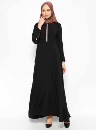 Taş Detaylı Elbise - Siyah New Kenza