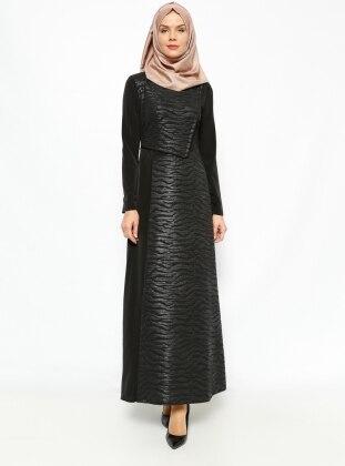 Esswaap Deri Detaylı Elbise - Siyah