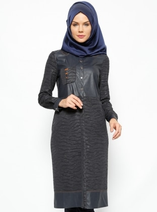 Detailed Leather Tunic - Navy Blue - Esswaap 231311