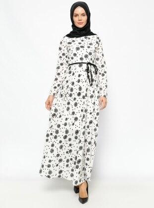 Desenli Elbise - Beyaz