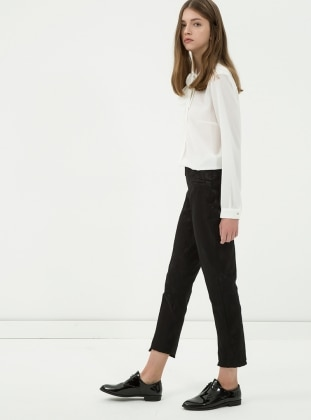 Desenli Pantolon - Siyah Koton