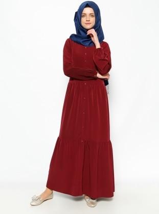 Düğme Detaylı Elbise - Bordo