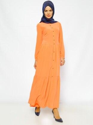 Düğme Detaylı Elbise - Turuncu