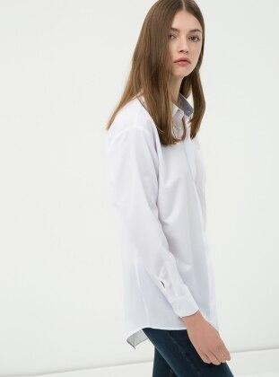 Gizli Düğmeli Gömlek - Beyaz Koton