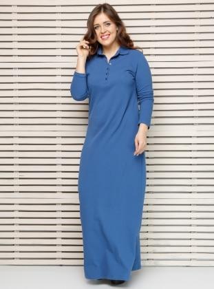 Alia Naturel Kumaşlı Elbise - İndigo