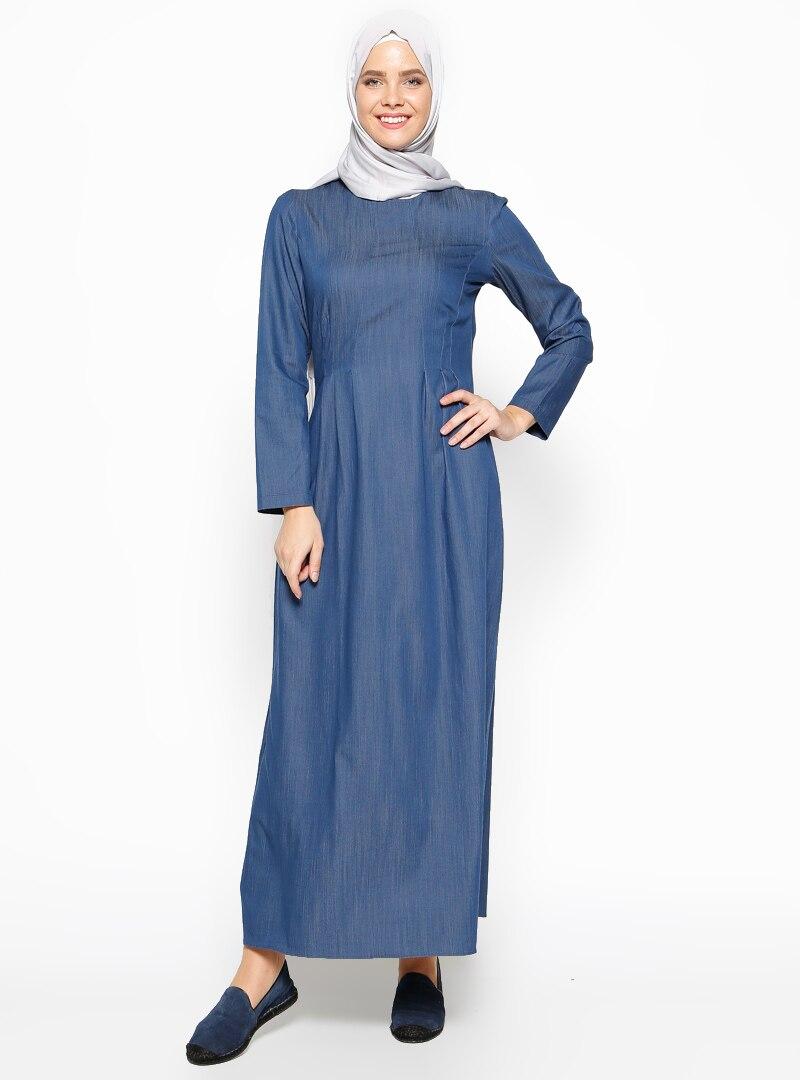 3ce78eb998e1f Beha Tesettür Koyu Mavi Pile Detaylı Elbise | ElbiseBul