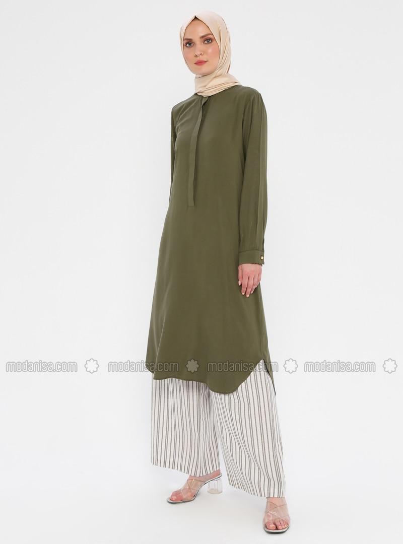 Button Collar - Khaki - Tunic
