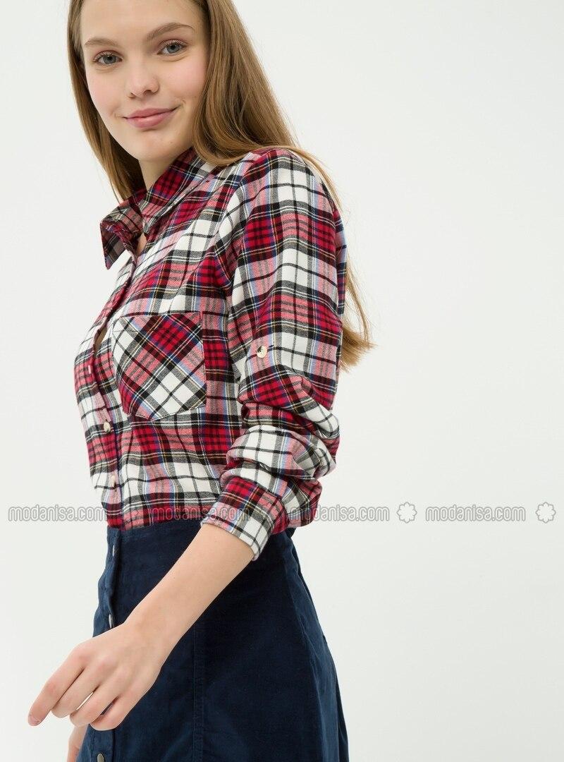 Plaid Shirts Red Koton