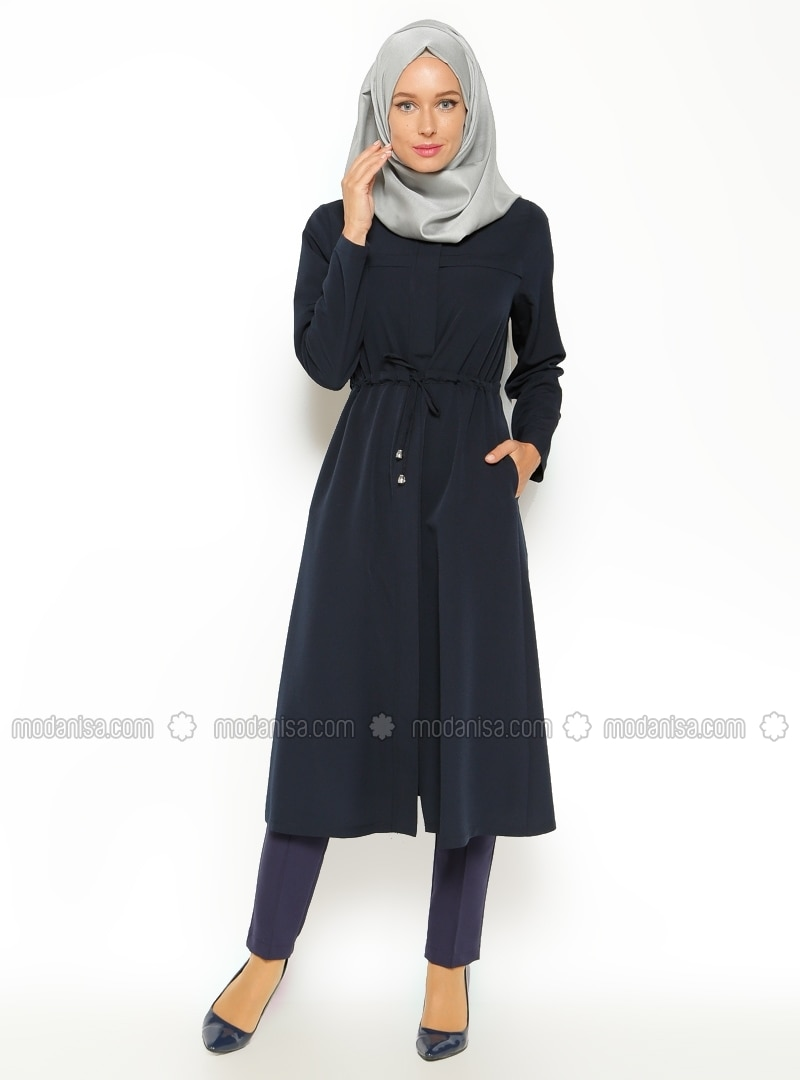 Hidden zippered Topcoat - Navy Blue