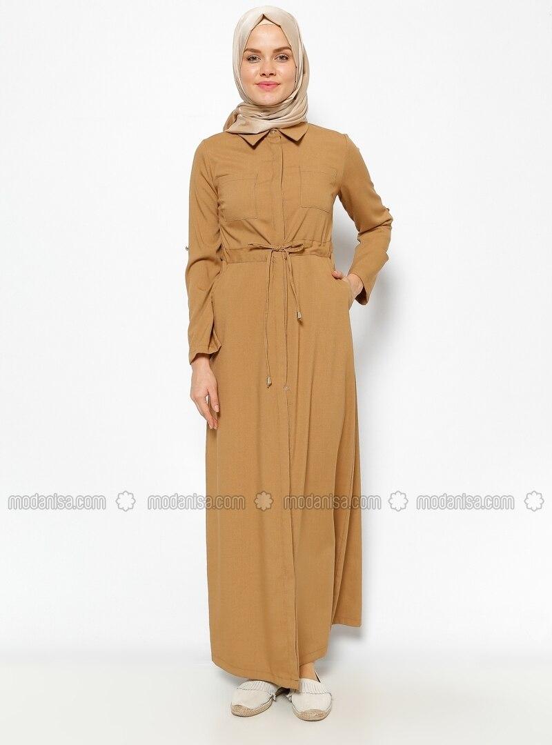 Hidden Button Dress - Yellow
