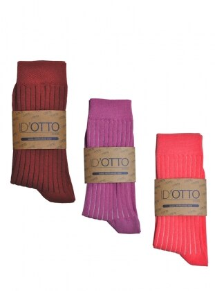 3`lü Organik Pamuk Çorap Seti - Bordo-fusya-pembe