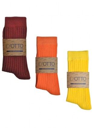 3`lü Organik Pamuk Çorap Seti - Bordo-turuncu-sari