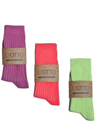 3`lü Organik Pamuk Çorap Seti - Fusya-pembe-mint yesili