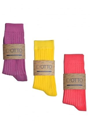 3`lü Organik Pamuk Çorap Seti - Fusya-sari-pembe