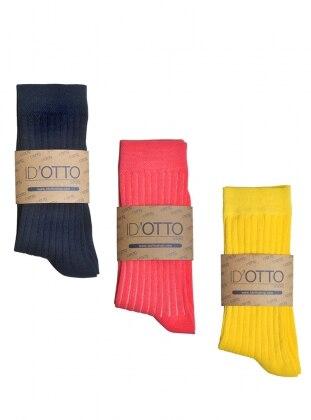 3`lü Organik Pamuk Çorap Seti - Lacivert-pembe-sari