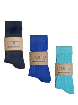 3`lü Organik Pamuk Çorap Seti - Lacivert-saks mavisi-turkuaz