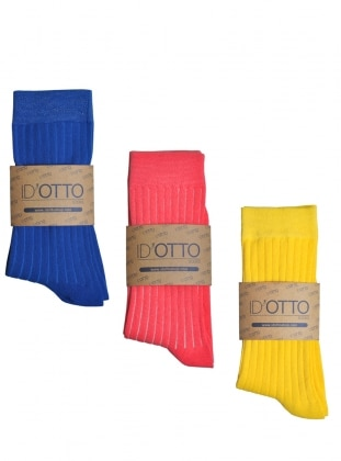 3`lü Organik Pamuk Çorap Seti - Saks mavisi-pembe-sari
