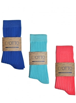 3`lü Organik Pamuk Çorap Seti - Saks mavisi-turkuaz-pembe