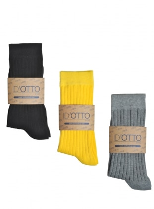Id'Otto 3`lü Organik Pamuk Çorap Seti - Siyah-sari-gri