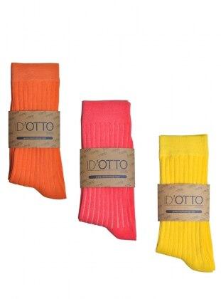 3`lü Organik Pamuk Çorap Seti - Turuncu-pembe-sari