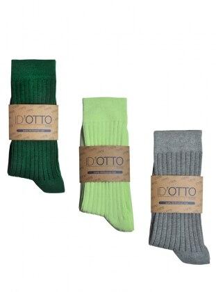 Id'Otto 3`lü Organik Pamuk Çorap Seti - Zumrut yesili-mint yesili-gri