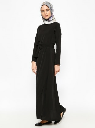 Belted Dress - Black - Dadali 232454