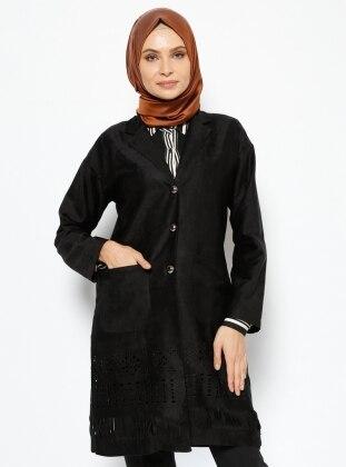 Cepli Uzun Ceket - Siyah By Gülay