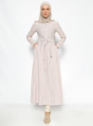 Çizgili Tunik Elbise- Hardal