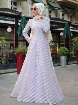 Çizgili Yakma Elbise - Lila
