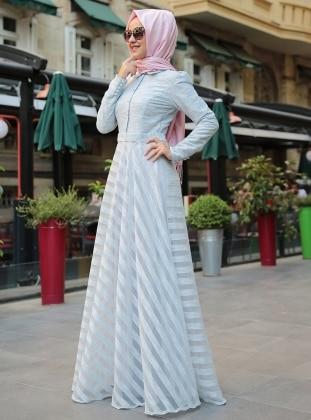 Çizgili Yakma Elbise - Mavi