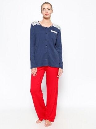 Dantel Detaylı Pijama Takımı - İndigo Kırmızı