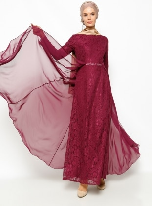 Dantelli Abiye Elbise - Mürdüm
