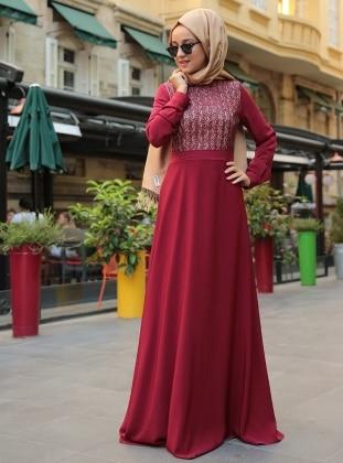 Deri Detaylı Elbise - Bordo