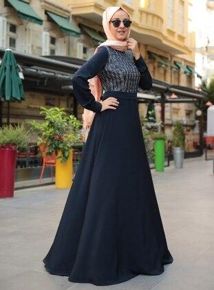 Deri Detaylı Elbise - Lacivert
