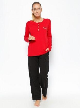 Pijama Takımı - Kırmızı Siyah