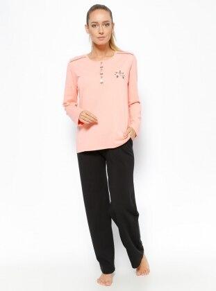 Pijama Takımı - Somon Siyah