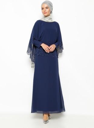 Taşlı Abiye Elbise - Lacivert Sevdem
